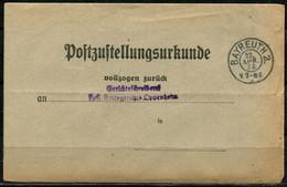 2163) Portofreie Rücksendung ZU Bayreuth - Storia Postale