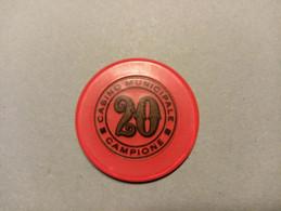 """9895"""" FICHES-CHIPS- CASINO' MUNICIPALE CAMPIONE-20 LIRE """" - Casino"""