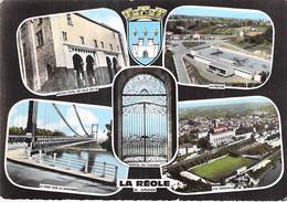 33 - LA REOLE : Jolie Multivues ( Hotel Ville Piscine Pont Vue Gle ) CPSM Dentelée Grand Format 1971 - Gironde - La Réole