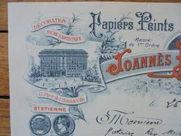 FACTURE - 42 - DEPARTEMENT DE LA LOIRE - SAINT ETIENNE  1906 - PAPIERS PEINTS : JOANNES BONNABAUD - Francia