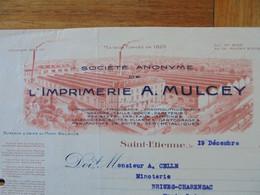 FACTURE - 42 - DEPARTEMENT DE LA LOIRE - SAINT ETIENNE  1929 - IMPRIMERIE : A. MULCEY - Francia