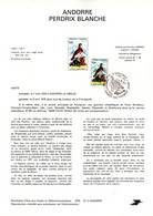 """"""" PERDRIX BLANCHE """" Sur Document A4 1er Jour D'Andorre De 1979 N° YT 275 Parfait état FDC - Grey Partridge"""