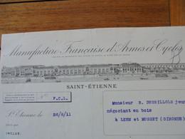 FACTURE - 42 - DEPARTEMENT DE LA LOIRE - SAINT ETIENNE  1911 - MANUFACTURES FRANCAISE D'ARMES & CYCLES DE ST ETIENNE - Francia