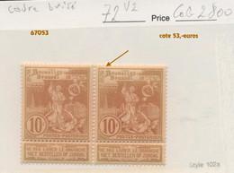 72 V.2. **.  Le Cadre Brisé - Plaatfouten (Catalogus OCB)