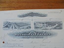 FACTURE - 42 - DEPARTEMENT DE LA LOIRE - MONTAGNY PRES ROANNE 1922 - TISSAGES DE COTONNADES : DECHELETTE FRERES - Francia