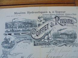 FACTURE - 42 - DEPARTEMENT DE LA LOIRE - LEIGNEUX PAR BOËN 1903 - MOULINS HYDRAULIQUES & A VAPEUR : COIFFET & RIVOIRE - Francia