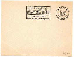 GIRONDE - Dépt N° 33 = BEGLES 1966 = FLAMME PP Codée = SECAP' Les PTT Vous Offrent SITUATIONS ... ' - Mechanical Postmarks (Advertisement)