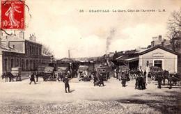 GRANVILLE ( 50 ) : LA GARE - CÔTÉ De L'ARRIVÉE - TRAIN / LOCOMOTIVE / ATTELAGES / ANIMATION... ~ 1908 - T.C.V. (af799) - Granville