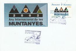 ANDORRE ESPAGNOL CARTE MAXIMUM 2002 ANNEE INTERNATIONALE DES MONTAGNES - Covers & Documents