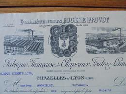 FACTURE - 42 - DEPARTEMENT DE LA LOIRE - CHAZELLE SUR LYON 1930 - FABRIQUE CHAPEAUX FEUTRES & LAINE : ETS. EUGENE PROVOT - Francia