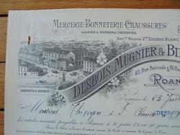 FACTURE - 42 - DEPARTEMENT DE LA LOIRE - ROANNE 1910 - MERCERIE, BONNETERIE, CHAUSSURES : DESBOIS, MUGNIER & BILLON - Francia