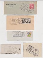 LOT DE 5 FLAMMES SUR FRAGMENTS AIRAINES SOMME - DAGUIN MAURICE RICAUT TAILLY DEMEURE DU Gal LECLERC - CENTRE COMMERCIAL - Mechanical Postmarks (Advertisement)
