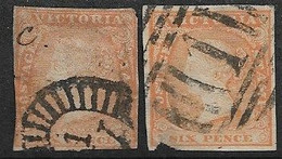 VICTORIA 1854 6d DULL ORANGE, 6d ORANGE - YELLOW SG 32a, 32b USED Cat £38 - Used Stamps