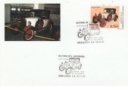 ANDORRE ESPAGNOL CARTE MAXIMUM 2003 VOITURE PEUGEOT 1928 - Covers & Documents