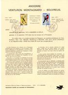 """"""" OISEAUX """" Sur Document A4 1er Jour D'Andorre De 1974 N° YT 240 241. Parfait état FDC - Kolibries"""