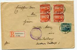 Sarre Lettre Recommandée Avec Mi 59 X 4 Et 55 Avec Cachet Violet .....stelle - Lettres & Documents
