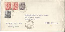 LLUCHMAYOR BALEARES  CORREO AEREO A USA SELLOS FRANCO PERFIL 4 PTS X 2 - 1951-60 Covers