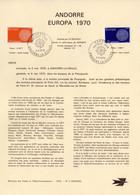 """"""" EUROPA 1970 """" Sur Document A4 1er Jour D'Andorre De 1970 N° YT 202 203 Parfait état FDC - 1970"""