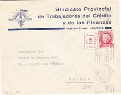 Sobre Con Viñeta 956 G.G.. Murcia 1936 Del Sindicato De Trabajadores Del Crédito Al Compañero Del Comité Empresa Banesto - Viñetas De La Guerra Civil