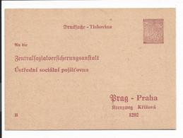 Böhmen Und Mähren DPB 1 ** - 30 H Lindenzweig Sozialversicherungs-Doppelkarte - Cartas