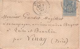 SAINT LAGER ( Rhone )  -  Cachet Pointillé De 1887 - 1849-1876: Periodo Classico