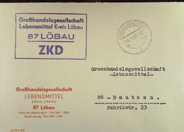 """Fern-Brief Mit ZKD-Kastenst. """"Großhandelsgesellschaft Lebensmittel 87 Löbau"""" 14.7.65 An GHG Bautzen -sauberer Beleg - Service"""