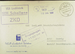 "Fern-Brf ZKD-Kastenst. ""VEB Lackfabrik 1831 Schollene"" 11.12.68 Mit Poststellenstpl RATHENOW An VEB Lack-..fabrik Coswig - Service"