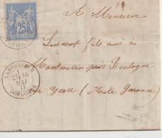 LANOUAILLE ( Dordogne ) - Cachet 1877 - Type Sage Bleu 25 C - Cachet Ambulant Au Verso - 1877-1920: Semi-moderne Periode
