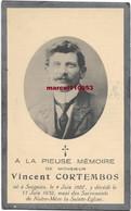 Cortembos Vincent ( Soignies 1887/1932 ) - Esquela