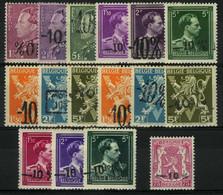 België 724A/24Q * - Koning Leopold III - Heraldieke Leeuw - Lokale Opdrukken - Volledig 16w. - Unused Stamps