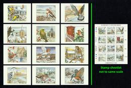 GUERNSEY 1990 Christmas/Winter Birds: Set Of 12 Christmas Cards MINT/UNUSED & Miniature Sheet MINT/MNH - Guernsey