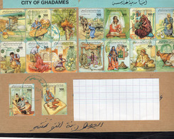 Libya 1995 -  Minisheet - The City Of Ghadames - Letter Sent From Ghadames To Tunisia - Libyen