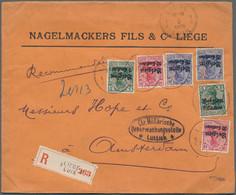Deutsche Besetzung I. WK: Landespost In Belgien: 1915, 6 Germania-Aufdrucke Alle Mit Firmenlochungen - Besetzungen 1914-18