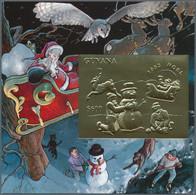 Thematik: Weihnachten / Christmas: 1993, Guyana. Lot Of 100 GOLD Christmas Blocks Containing The $60 - Christmas