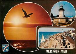 14 - Ver Sur Mer - Multivues - Blasons - Scènes De Plage - Coucher De Soleil - CPM - Voir Scans Recto-Verso - Andere Gemeenten