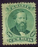 Brazil 1866 Emperor Pedro 100r Green #47 Perf FU - Non Classés