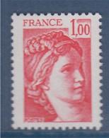 Sabine De Gandon Neuf N°1972c Gomme Tropicale 1f00 Sans Phosphore - 1977-81 Sabine De Gandon