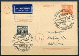 """Germany Berlin 1952 GS Berliner Bauten I Mi.Nr.P12 I Mit SST""""Berlin-Flughafen-40 Jahre Dt.Luftpost""""Drucksache""""1 GS - Briefe U. Dokumente"""