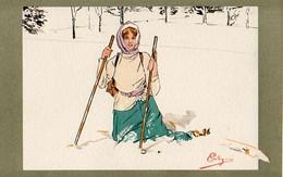 Illustrateur Pellegrini, Femme Skieuse Chute De Ski - Otros Ilustradores