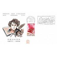 FDC N° 841 - Cent Naissance De Colette - 2/6/1973 St Sauveur En Puisaye + Flamme - 1970-1979