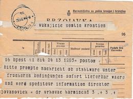 Croatia WWII NDH 1944 Telegram Form From Zemun - Croatia