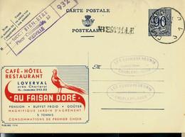 Publibel Obl. N° 1014 ( Au Faisan Doré - Loverval- Restaurant) Obl. CHARLEROI - J 1 J -  + Griffe De VIESVILLE - Linear Postmarks