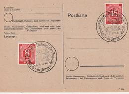 """All.Besetzung / 1946 / Postkarte Sonderstempel """"UNNA-Suedwestfaelische Philatelistentagung"""" (C143) - Zone AAS"""