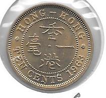 * HONG KONG 10 Cents  1963 Km  28.1  Unc  !!!!! - Hong Kong