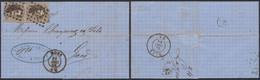 Médaillon Dentelé - N°14 En Paire Verticale Sur LAC Obl Pt 252 çàd Mons (1864) > Gand - 1863-1864 Medaillons (13/16)