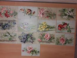 Très Belle Série De 13 Cartes Gaufrées Fleurs 1902 Pensée, Rose, Muguet, Oeillet, Violette, Jonquille, Iris, - Fiori
