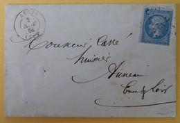 EMPIRE DENTELE 22 SUR LETTRE DE ABLIS A AUNEAU DU 2 NOVEMBRE 1866 (GROS CHIFFRE 2) - 1849-1876: Klassieke Periode