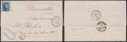 """Médaillon Dentelé - N°15 Sur LAC Obl Pt 254 çàd Montzen (1865) + Boite Rurale """"L"""" (Bleyberg) > Bruxelles. TB - 1863-1864 Medaillons (13/16)"""