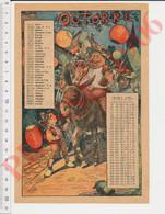 Gravure 1906 Mois D'Octobre Fête Des Vendanges Bouteille De Vin Lampions Animal âne Donkey Instruments Amiot 237CH18 - Unclassified
