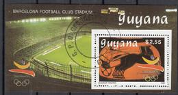 GUYANA 1989 Sc. 2230 Olimpiadi Barcelona '92 Sheet Perf. CTO Chariot Racing Biga Football Club Stadium - Estate 1992: Barcellona
